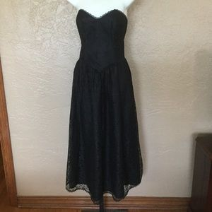 Vintage Black Lace Strapless Midi  Dress S Goth